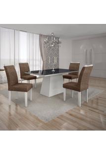 Conjunto Sala De Jantar Mesa Tampo Mdf/Vidro Preto 4 Cadeiras Pampulha Leifer Branco/Linho Marrom