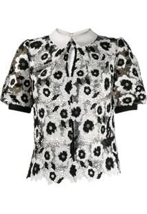 Self-Portrait Blusa De Renda Bordada - Preto