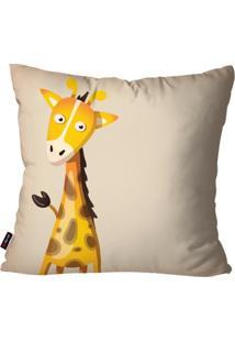 Capa De Almofada Avulsa Infantil Retrô Bege Girafa 45X45Cm