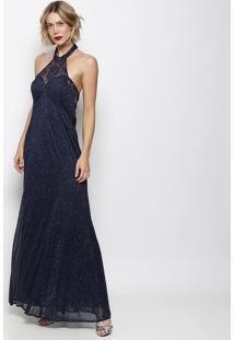 3ec1ded46e0a R$ 399,99. Privalia Vestido Azul Marinho Metalizado ...