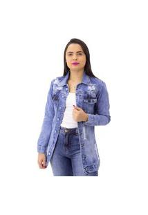 Jaqueta Jeans Alongada Feminina Destroyed Indy Jeans