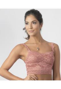 Top Cropped Em Renda Perle Duloren - Feminino-Rose Gold