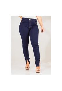 Calça Jeans Feminina Skinny Cós Médio Recorte Lateral