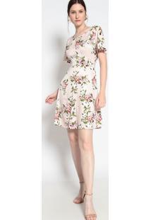 Vestido Floral- Rosa Claro & Verde- Le Fixle Fix