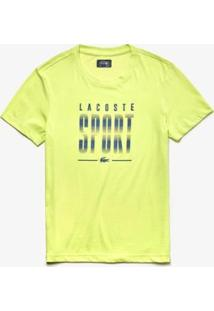 Camiseta Lacoste Sport Masculina - Masculino-Amarelo Fluorescente+Azul