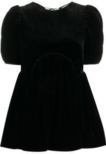 Cecilie Bahnsen Kastanje Puff-Sleeve Blouse - Preto