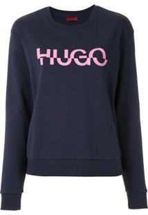 Hugo Blusa Moletom Com Logo - Azul