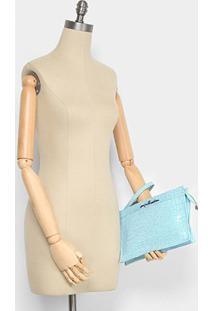 Bolsa Couro Luiza Barcelos Mini Bag Croco Feminina - Feminino-Azul