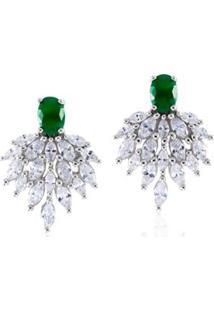 Brinco Giullia Ferraz Store Giullia Ferraz Store Glamour Feminino - Feminino-Verde+Prata