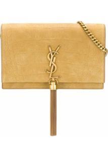 Saint Laurent Bolsa Transversal Kate De Couro - Dourado