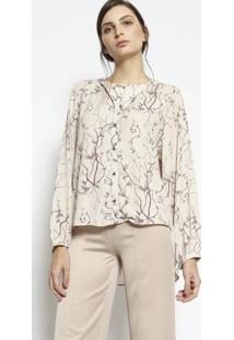 Camisa Floral- Bege & Marromenna