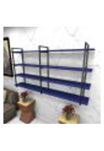 Estante Estilo Industrial Sala Aço Cor Preto 180X30X98Cm (C)X(L)X(A) Cor Mdf Azul Modelo Ind56Azsl