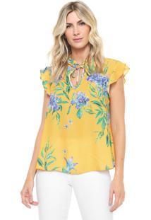 Blusa Lança Perfume Frufru Floral Amarela
