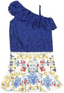 Conjunto De Blusa De Renda + Saia Floral - Azul Royal & Luluzinha