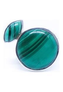 Anel Com Duas Malaquitas De Prata 925 Kumbayá Joias - Feminino-Verde