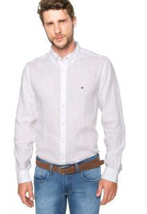 Camisa Linho Tommy Hilfiger Bordado Branca