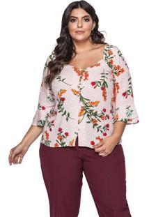 Blusa Almaria Plus Size Pianeta Estampada Rosa