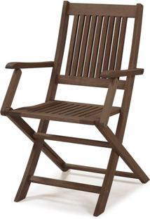 Cadeira Dobravel Primavera Com Bracos Stain Nogueira- 34809 Sun House