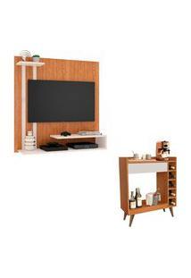 Kit Painel Para Tv Smart Plus Nature Com Off E Aparador Retrô 1 Gaveta E Adega Intenso Nature Com Off