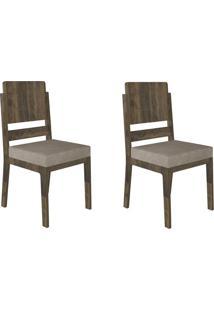 Jogo De 2 Cadeiras Esmeralda Amadeirado Com Pena Caramelo Rv Móveis