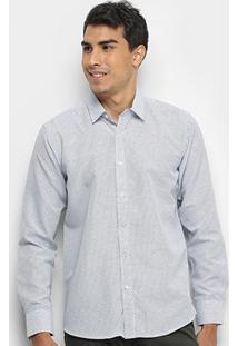 Camisa Watkins&Krown Manga Longa Slim Fit Masculina - Masculino-Branco+Preto