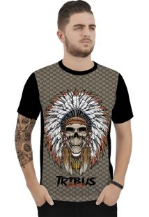Camiseta Ramavi Xadrez Indio Curta Preto