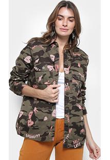 Jaqueta Camuflada Cantão Estampada Frases Feminina - Feminino-Verde Militar+Preto