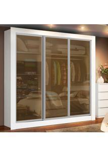 Guarda-Roupa Casal Texas 3 Portas Vidro Reflex Branco Madesa