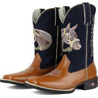 Bota Country Sapatofran Texana Rebento Bico Quadrado Cara De Cavalo Azul- Marinho c1d34de5cd42b
