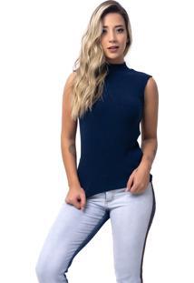 Regata Rb Moda Feminina Gola Alta Azul Marinho Ref: 052