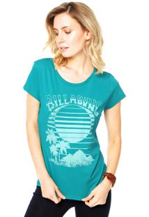 Camiseta Baby Look Billabong Verde