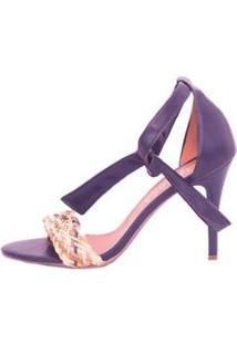 Sandália Amarração Com Cordão Trançado Salto Fino Mahasa Feminina - Feminino-Azul