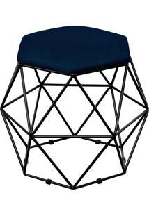 Puff Decorativo Aramado Preto Six Suede Azul Marinho - Lyam Decor