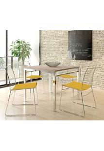Mesa 1525 Nogueira Cromada Com 4 Cadeiras 1712 Amarela Carraro