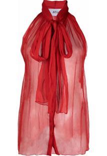 Atu Body Couture Blusa Semi-Translúcida De Seda - Vermelho