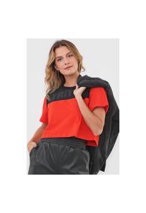 Camiseta Cropped Triton Aplicações Vermelha