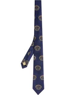 Burberry Gravata Slim De Seda - Azul