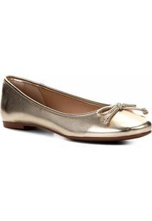 Sapatilha Shoestock Laço Metalizada Feminina - Feminino-Dourado