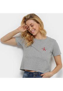Blusa Calvin Klein Básica Feminina - Feminino-Mescla