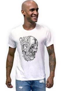 Camiseta Joss Caveira Duas Caras Masculina - Masculino-Branco