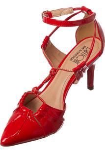 Scarpin Butique De Sapatos Detalhe Vazado Vermelho Nó