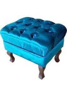 Puff Banqueta Retrô Luis Xv Capitonê Acetinado Azul - Nay Estofados