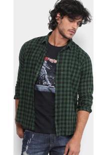Camisa Xadrez Reserva Regular Fit Vichy Gase Masculina - Masculino-Verde Escuro