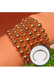 Bracelete Balls Folheado A Ouro