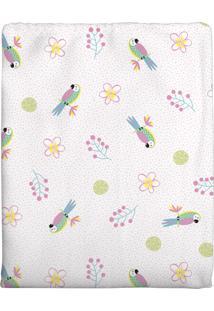 Cobertor Era Uma Vez Flanelado Para Bebê Arara Rosa 90X1,10Cm