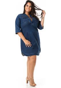 Vestido Jeans Decote V E Barra Plus Size - Confidencial Extra - Kanui