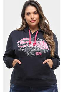 Moletom City Lady Beauty Plus Size Feminino - Feminino-Marinho