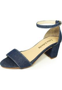 Sandália Salto Baixo Grosso Luiza Sobreira Jeans Escuro Mod. 4076-2