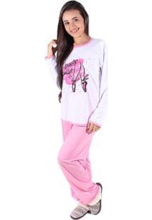 Pijama De Malha Linha Noite Feminino Longo - Feminino-Rosa
