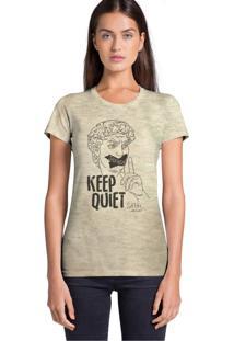 Camiseta Básica Joss Keep Quiet Bege
